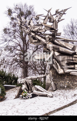 Socialist Realist monument to the Defenders of the Polish Post Office, 1979, Plac Obrońców Poczty Polskiej, Gdańsk, Poland - Stock Image