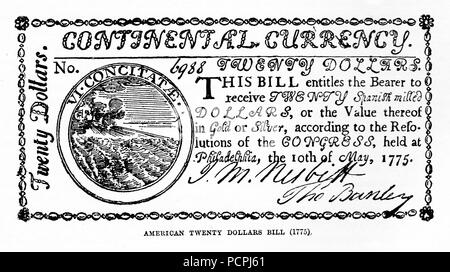 American Twenty Dollar Bill of 1775; Illustration from Cassell's History of England, King's Edition Part 33 - Stock Image