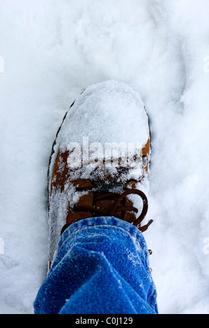 Boot in the snow - Stock Image