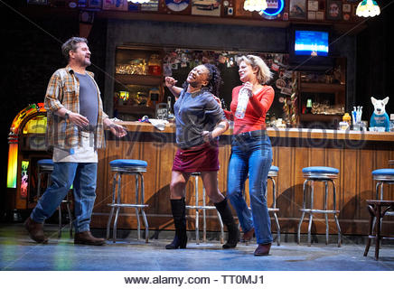 Sweat by Lynn Nottage, A Donmar Warehouse Production directed by Lynette Linton.With Stuart McQuarrie as Stan,Clare Perkins as Cynthia, Martha Plimpton as Tracey. Opens at The Gieilgud Theatre on 12/6/19 pic Geraint Lewis EDITORIAL USE ONLY - Stock Image