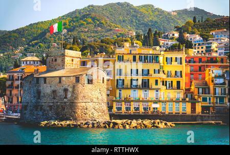 retro italian castle seaside vintage travel background Castello di Rapallo italian riviera - Italy - Stock Image
