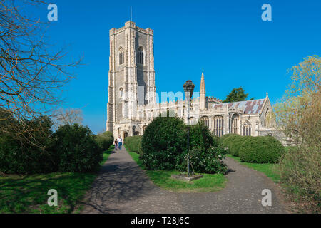 Lavenham Church, view of the late medieval (1525) Church of St Peter & St Paul in the Suffolk village of Lavenham, England, UK. - Stock Image