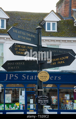 Direction signpost in Market Square, Chesham, Bucks, England, UK - Stock Image
