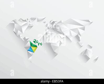 World map with highlighted brazil for 2014 - Stock Image