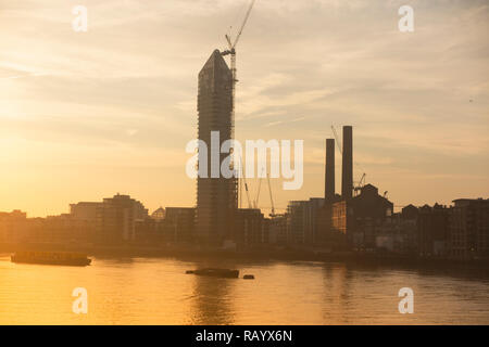 Chelsea Waterfront developments by Lots Road Power Station - Hong Kong-financed prestige flats - Stock Image
