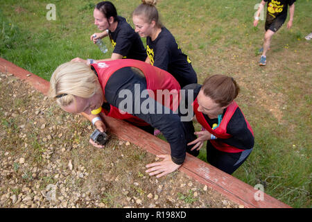 Obstacle course runners climbing a wall - Stock Image