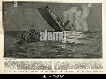 German torpedo boat  S.M.S. S 42 sinking after being hit by the British merchantman S.S. Firsby on 24 June 1902 in the Elbe estuary - Stock Image