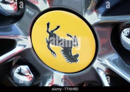 Monte-Carlo, Monaco - June 16 2019: Ferrari Prancing Horse Badge (Logo) On The Car Alloy Wheel Rim Of A Luxurious Italian Supercar At Monte-Carlo, Mon - Stock Image