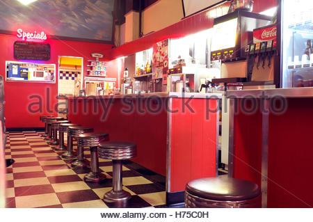 Interior of The Templeton, a cafe diner in Granville Street, Vancouver, BC, Canada. - Stock Image