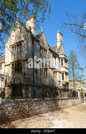 Merton College, Oxford University, Oxfordshire, UK. View from Corner of Grove Walk and Dead Man's Walk and Christ Church Meadow. - Stock Image