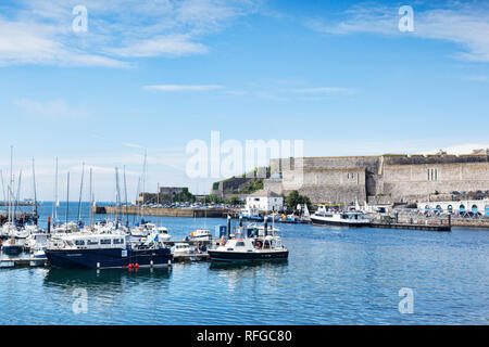 2 June 2018: Plymouth, Devon, UK - The harbour and the Royal Citadel. - Stock Image