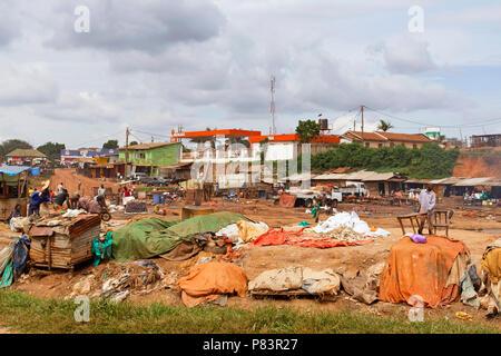 Fish Waste Processing site near Kampala, Uganda, East Africa - Stock Image