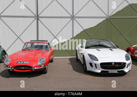Jaguar E-Type S1 Coupe and F-Type V8 R, British Marques Day, 28 April 2019, Brooklands Museum, Weybridge, Surrey, England, Great Britain, UK, Europe - Stock Image