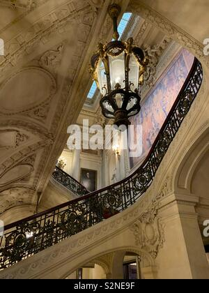 The grand staircase at The Vanderbilt summer cottage The Breakers in Newport, Rhode Island, USA - Stock Image