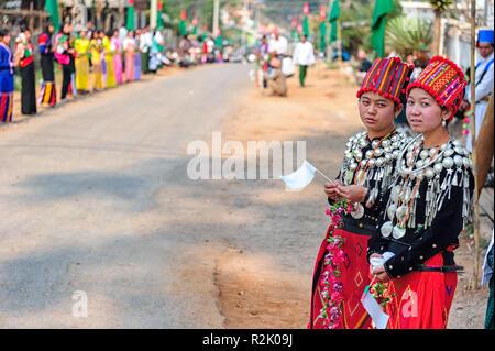 Political parade and demonstration on Temple Road, Anisakan, Mandalay Region, Myanmar (Burma) - Stock Image