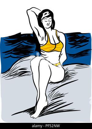 Siting on the rocks.  Young woman in yellow bikini is sitting on stones on the beach. Beautiful bikini woman sitting on the rock near the sea. - Stock Image
