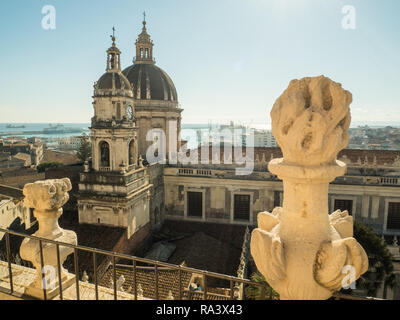 View towards the dome of the Cathedral of Sant'Agata in the City of Catania, Island of Sicily, Italy - Stock Image