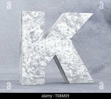 Concrete Capital Letter - K isolated on white background. 3D render Illustration - Stock Image