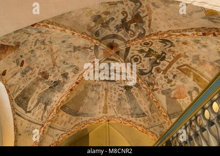 fresco in the ceiling  of Sejerø church in Sejerby - Stock Image