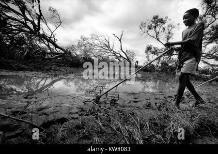 Floods in Mozambique Feb 2000; In the devastated town of Mobane children still play with their toys. - Stock Image