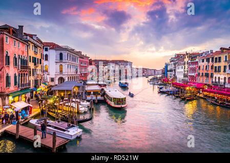 Venite, Italy  - Night image with Grand Canal, from oldest bridge Rialto, Venezia. - Stock Image