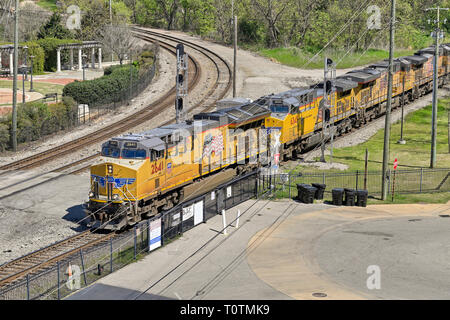 Freight train headed by Union Pacific diesel locomotive #2641, a GE ES44AC, diesel electric engine, in Montgomery Alabama USA. - Stock Image