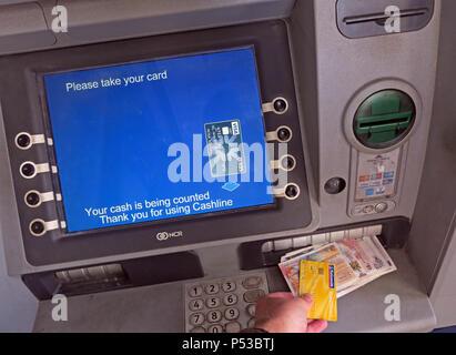 Cashline ATM Automatic Teller Machine, dispensing Bank of Scotland Scottish sterling banknotes, Glasgow, Scotland, UK - Stock Image
