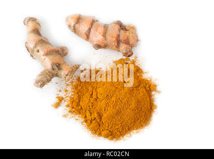 Turmeric root and ground turmeric on white background. - Stock Image