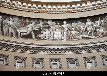 View of the Frieze in the Rotunda of the US Capitol Building in Washington DC - Stock Image