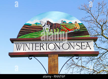 The village sign at Winterton-on-Sea, Norfolk, England, United Kingdom, Europe. - Stock Image