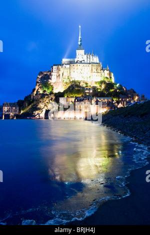 Le Mont Saint Michel, Dusk, Normandy, France - Stock Image