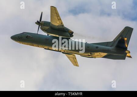 Croatian HRZ An-32B transport aircraft in flight - Stock Image