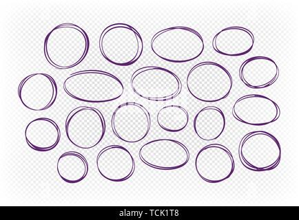 Hand drawn circle, set of elements. Sketch vector illustration - Stock Image