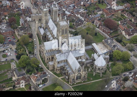An aerial view of Lincoln Cathedral - Stock Image