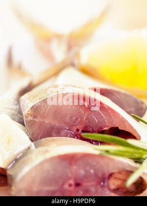 Fresh cutting Mackeral in olive oil. - Stock Image