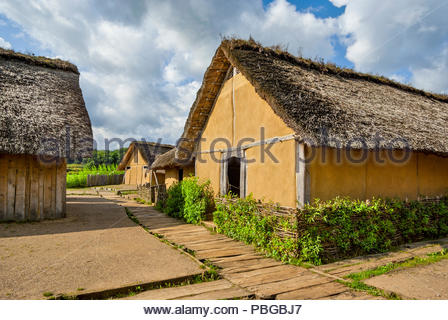 In its heyday, the Viking market town of Haithabu had about 1000 such thatch-roofed houses surrounded by the Danevirke, a semicircular defensive rampa - Stock Image