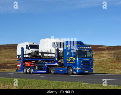 5 Star Vehicle Deliveies Limited HGV. M6 motorway Southbound carriageway, Shap, Cumbria, England, United Kingdom, Europe. - Stock Image