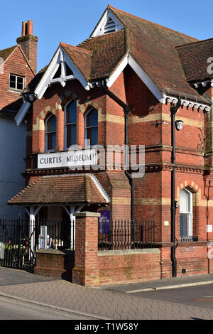Facade of the Curtis Museum of local history founded by William Curtis (1803-81), Alton, Hampshire, UK. - Stock Image