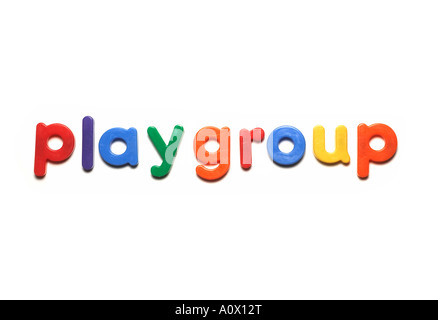 alphabet fridge magnets spelling playgroup,words - Stock Image