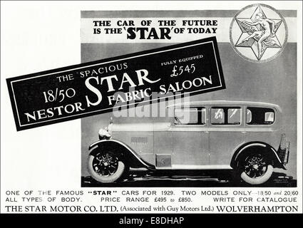 1920s advertisement for cars by THE STAR MOTOR CO LTD of Wolverhampton in English magazine dated June 1929 - Stock Image