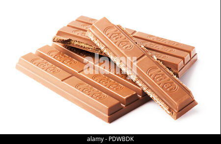 SAMARA, RUSSIA - NOVEMBER 12, 2017: Kit Kat broken chocolate bar. Kit Kat is a chocolate biscuit bar with logo - Stock Image