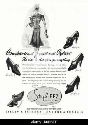 1939 UK Magazine Styl-eez Shoe Cream Advert - Stock Image