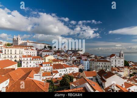 Alfama district skyline, Lisbon, Portugal - Stock Image