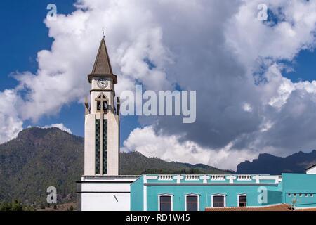 The clock tower of the chapel of Nuestra Senora de Bonanza in El Paso, La Palma, Canary Islands, Spain - Stock Image