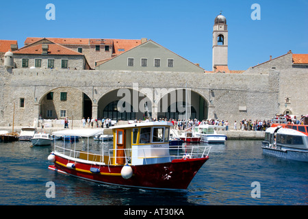 Dubrovnik harbour and the Municipal Bell Tower,   Dubrovnik, Croatia, Europe, - Stock Image