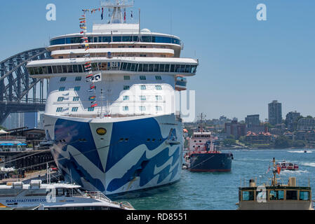 Sydney Australia, Jan 12, 2019: Princess Cruises' newest ship, Majestic Princess moored at the International Terminal, Circular Quay, Sydney Harbour. - Stock Image