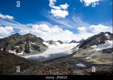 Austria Tirol and skiing in Stubai near Innsbruck. One of the best ski resorts in Austrian Tyrol. - Stock Image