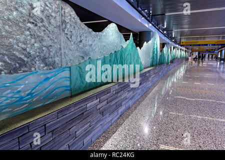 Public art installation at the new Calgary International  Airport (YYC) arrival level - Stock Image