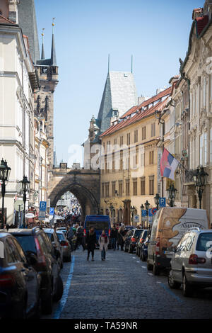 Czech Republic, Prague 16-04-2019: many people walking on the streets around beautiful buildings. Mid shot - Stock Image