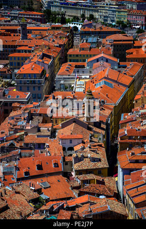 Vista of Old Nice as taken from Castle Hill in Nice, Cote D'Azur, France - Stock Image